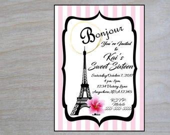 Sweet Sixteen Birthday; Eiffel Tower Printable Invitation; Paris Party Invite; Printable Bridal Shower Invitation; Paris Themed Party