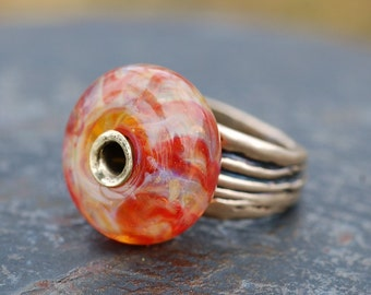Bronze Boro Lampwork Glass Beaded Ring Autumn Fades