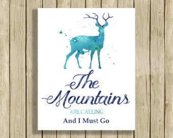 printable wall art quote the Mountains Are Calling instant download 8 x 10 deer art watercolor print nature lover home decor