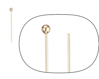 90pcs 23ga 16k gold-finished ball pin 0.8inch with 2mm ball