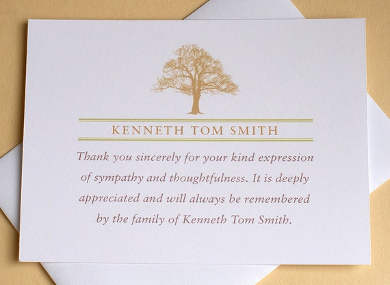 Funeral Thank You Card with a Strong Tree Personalized