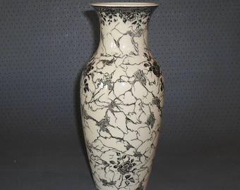 Vintage, Vintage, Villeroy & Boch, Old Mettlach copper engravings, beautiful design ceramics, porcelain vase before 1945, handwork