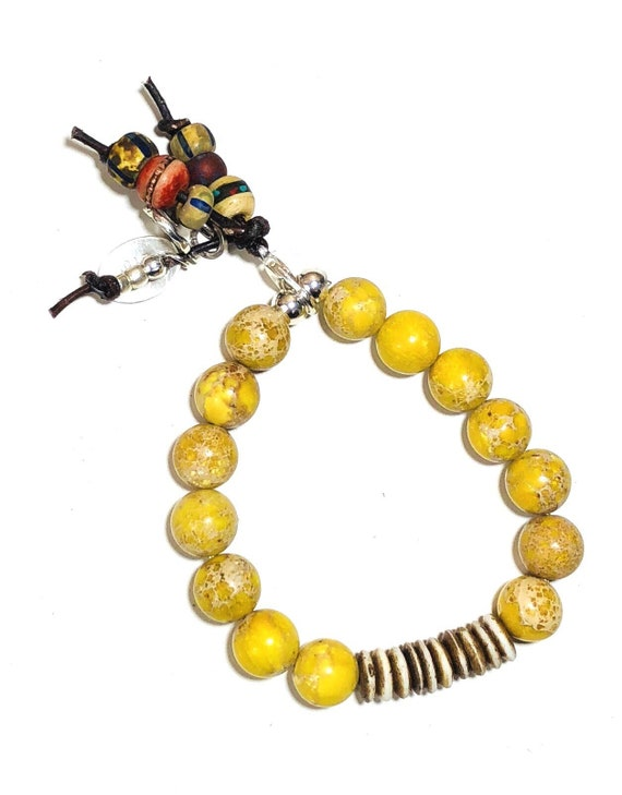 Boho Bracelet, Yellow Boho Bracelet, Beachy, sterling silver, beaded, yellow