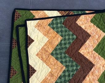 Modern Quilt, Lap Quilt,  Orange Quilt,  Quilt for Man, Masculine Quilt, Green Quilt, Brown Quilt, Blanket, Throw