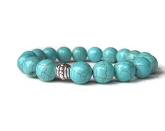 Turquoise bracelet, mens beaded bracelet, mens bracelet, mens jewellery, bracelet uk