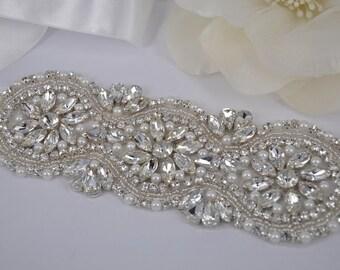 Gail - Style Vintage strass cristaux de mariée Sash ceinture