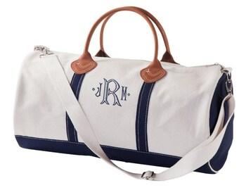 Monogrammed Duffle Bag - Monogrammed Overnight Bag - Navy Duffle
