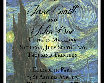 Starry Night- Van Gogh Inspired Printed Invitations and RSVP Cards