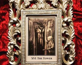 """Framed Rare """"Tower"""" HR Giger Tarot Card"""