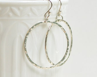 Sterling Silver Dangle Hoop Earrings, Hammered Circle Earrings, Hoop Earrings, Modern Jewelry, Minimalist, Argentium Silver, 1 - 2 inch diam