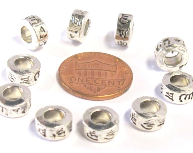 10 Beads - Small spacer Tibetan om mantra silver tone plated wide hole donut beads 9 mm x 5 mm - BD820