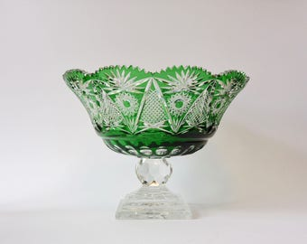 Gorgeous Large Bohemian Green Cut to Clear Footed Crystal Bowl