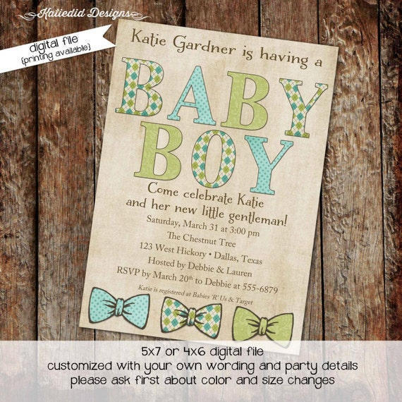 little man bow tie baby shower invitation boy gentleman first 1st birthday diaper wipes brunch couples coed rustic | 1288 Katiedid Designs