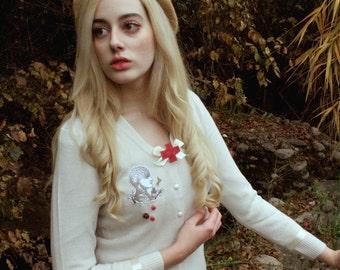 White Cardigan Gothic Lolita Cardigan Gurololi Medical Horror Asylum Collection by Violet Fane