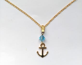Gold Plated Anchor, Nautical Beach Boat Pendant, Nautical Charm Anchor, Blue Austrian Crystal, OOAK Gift - Symbol of Hope by enchantedbeads
