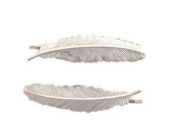 Silver Feather Bobby Pins Bridal Hair Clips Bridesmaid Barrette Vintage Style Boho Bohemian Festival Wedding Accessories Womens Gift For Her