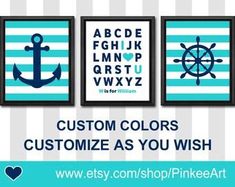 nautical kids decor, nautical nursery decor personalized, alphabet nautical theme nursery, nautical boys room, shipwheel anchor baby room