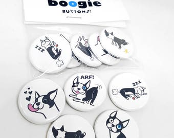 Boogie the Boston Terrier Buttons - set of 5