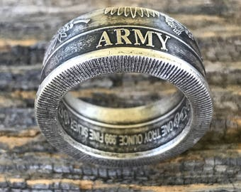 Silver United States Army Coin Ring
