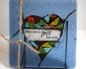 Mosaic Heart Fused Glass Decorative Tile