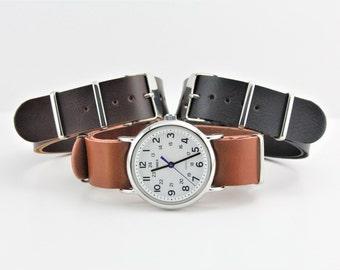 Slip Thru Watch Strap - PU Leather in Brown & Black - 16mm,18mm, 20mm, 22mm, 24mm Timex Weekender Seiko
