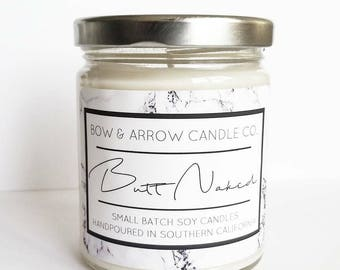Natural Soy Candle Butt Naked Scented | 7 oz Jar Candle | Butt Naked Candle | Fruit Scented | Scented Soy Candle | Butt Naked | Gift Idea