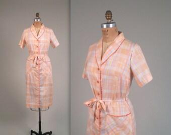 1960s DEADSTOCK checkered dress • vintage 60s dress • cotton summer dress
