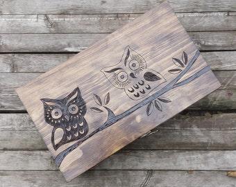 Owl Memory box, personalized keepsake box, wine box, wedding wine box, wooden owl box, wine crate, double wine box, wedding gift, baby gift