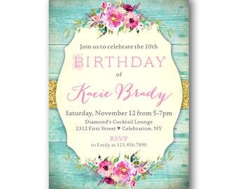 Shabby Chic Girls Birthday Invitations, 10th Birthday Invitations for Girls, Kids Birthday Invites, Country Rustic Western Chic Invitation