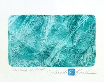 Dreaming of Flight, original monotype by Rhonda Lynch