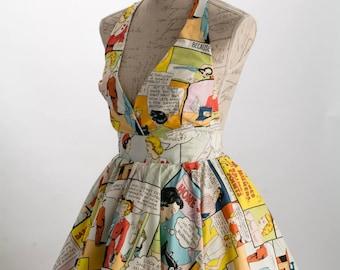 Rockabilly dress, Alexander Henry print  halter dress, pin up swing dress, comic dress, party dress,