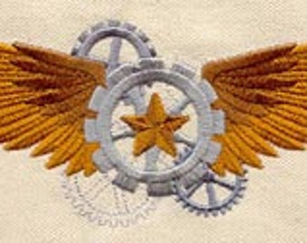 Airship Captain Wings Steampunk Embroidered Flour Sack Hand/Dish Towel