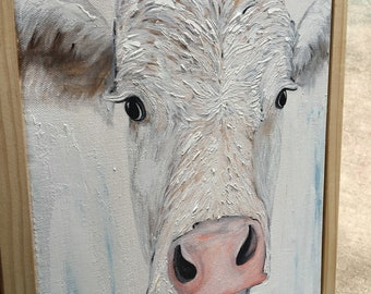 Cow painting, cow art, cow wall hanging, farmhouse decor, farmhouse art, ranch art, ranch decor, cow decor, bohemian decor