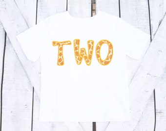 Second Birthday Shirt two Giraffe birthday shirt zoo themed birthday shirt 2 year old shirt