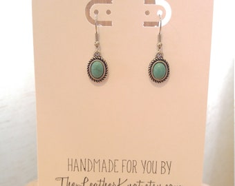 Little Turquoise Drop Earrings, Western Boho Earrings, Dainty, Antiqued Silver and Turquoise Stones, Handmade Jewelry