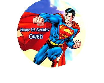 "Superman personalised Cake Topper Edible Wafer Paper 7.5"" F"