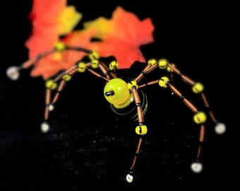 Beaded Wire Spider Hand Crafted in Yellow and Copper