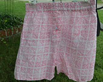 Men's Handmade Cotton Underwear Boxers Briefs by Mumtaz Creations  - Pink Geometric - Size 32 or 36 - Milan I914