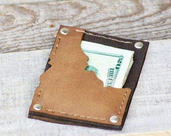 Mens Leather Wallet, Leather Wallet, Mens Thin Leather Wallet, Mens Boho Wallet, Boho Leather Wallet, Minimal Wallet, Slim Wallet