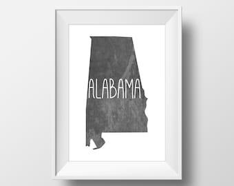Alabama State Black Chalkboard Printable Art, Alabama Print, Alabama Art, Modern Art,