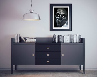 Print of Angry Zombie,Zombie Painting,Black and White A4 size,Zombie Portrait,Zombie Apocalypse,Zombie gnomes,Zombie Art