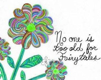 "Hand drawn ""Fairytales"" Green Flower printable"