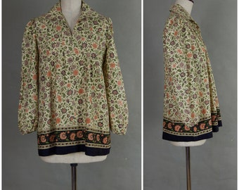 Vintage Blouse, 1970's cotton smock, Cream floral print tunic top, Loose fit long sleeved blouse, 70's Maternity smock,  Summer Hippy / Boho