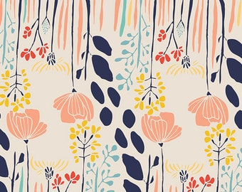 Summer Grove by Day - Meadow - Art Gallery Fabrics - Leah Duncan - MW-70020 - Floral Quilting Fabric - Nursery Flowers Pastel Navy