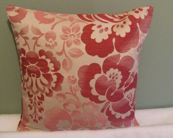 """Modern, contemporary cranberry red flowerd 16"""" x 16"""" cushion cover, scatter cushion, pillow case"""