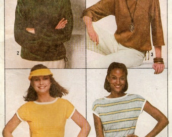 Simplicity 8088 Sewing Pattern, Misses Jiffy Knit Pullover Top, Stretch Knits Only, Size Sm 10-12, Used Vintage Pattern