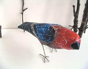 Paper Mache Bird, Ready to Ship Gift, Handmade Bird Sculpture Woodland Decor, Whimsical Creature, Bird Lover Gift, Recycled Original Art