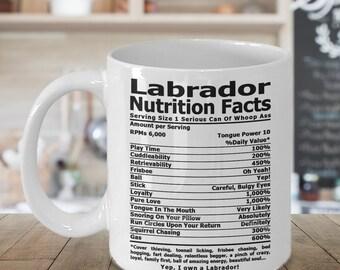 Labrador Nutrition Coffee mug, Tea mug, Coffee cup, Labrador Retriever Gifts, Nutrition Type Font   Lab Coffee Mug