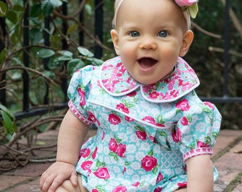PDF Adelaide Romper Pattern - Size 3 Month - Size 4T by The Cottage Mama