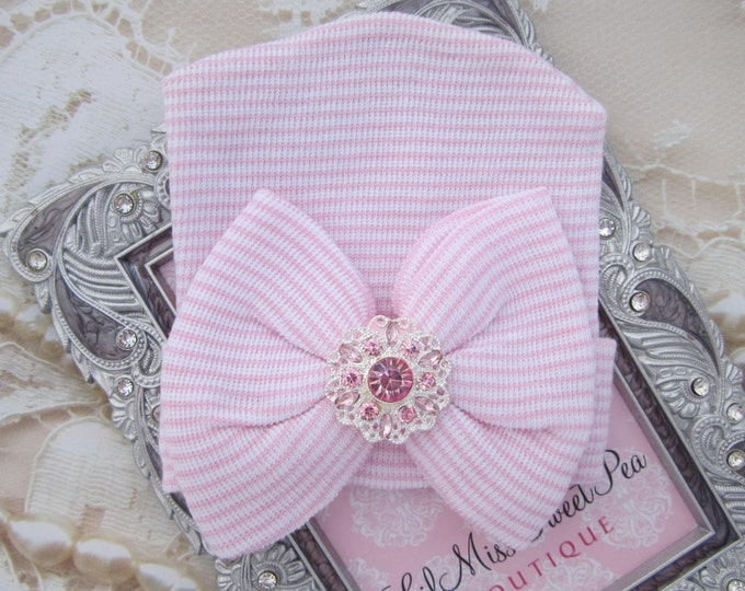Newborn Hospital Hat, pink and white stripes with a pink and silver rhinestone attachment, baby hat, from Lil Miss Sweet Pea Boutique